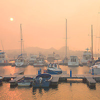 Cahersiveen Harbour during field fire in February, County Kerry, Ireland / ch238