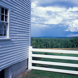 New Gloucester, ME.The view as seen from the yard next to the recreation center (Boy's Shop) at the Sabbathday Lake Shaker Village.