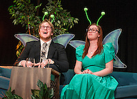"""""""May"""" Jessica McDermott and """"Horace"""" Taylor Gagne get ready to take flight as two mayflies during Laconia High School dress rehearsal for their one act play """"Time Flies"""" on Monday afternoon.  (Karen Bobotas/for the Laconia Daily Sun)"""