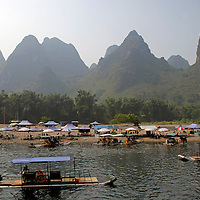 Asia, China, Guilin. Karst Formations and Shore Activity of Li River.