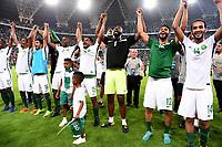 Football - Fifa World Cup Russia 2018 / <br />Saudi Arabia Team_Celebrates for Qualifing at FIFA Russia WC 2018 , From the left : Motaz Hawsawi ,Abdullah Al Zori ,Hussain Al Moqahwi ,Osama Hawsawi ,Nasser Al Shamrani ,Waleed Abdullah ,Mohammed Al-Fatil and Abdullah Otayf