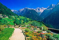 View of the Swiss Alps from the village of Soglio, Switzerland