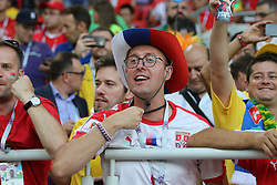 June 27, 2018 - Moscow, Russia - June 27, 2018, Russia, Moscow, FIFA World Cup 2018, First round, Group D, Third round. Football match Serbia - Brazil at the stadium of Spartak. Player of the national team fans; viewers; fans. (Credit Image: © Russian Look via ZUMA Wire)