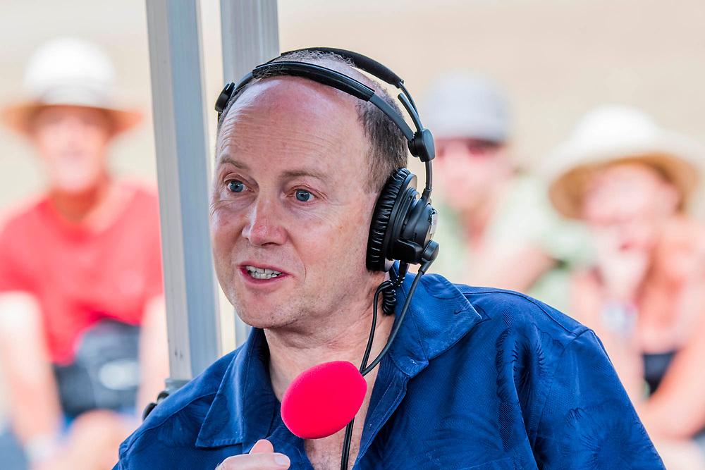 Henham Park, Suffolk, 20 July 2019. Damian Green MP appears on a live broadcast of the John Pinaar show on BBC Radio 5 Live. The 2019 Latitude Festival.