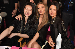 Gigi Hadid and Kendall Jenner posing backstage of the 2018 Victoria's Secret Fashion Show on November 8, 2018 in New York City, New York. Photo by Lionel Hahn/ABACAPRESS.COM