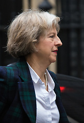 Downing Street, London, November 17th 2015. Home Secretary Theresa May arrives at Downing Street for the weekly cabinet meeting.