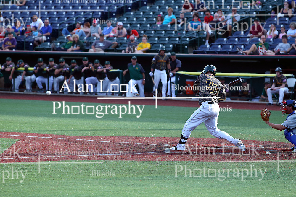 03 June 2016: R.J. Perucki during a Frontier League Baseball game between the Windy City Thunderbolts and the Normal CornBelters at Corn Crib Stadium on the campus of Heartland Community College in Normal Illinois