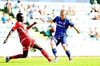 Fotball , Adeccoligaen , 1. Divisjon menn ,  Fredag 6. juli 2013 , Nadderud Stadion ,<br /> Stabæk - Vard Haugesund<br /> Herman Stengel - Stabæk<br /> Ahyee Aye Elvis - Vard<br /> Foto: Sjur Stølen