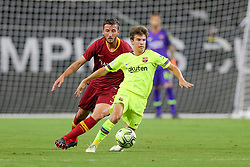 July 31, 2018 - Arlington, TX, U.S. - ARLINGTON, TX - JULY 31: FC Barcelona midfielder Ricky Puig (8) is tripped from behind by AS Roma midfielder Lorenzo Pellegrini (7) during the International Champions Cup between FC Barcelona and AS Roma on July 31, 2018 at AT&T Stadium in Arlington, TX.  (Photo by Andrew Dieb/Icon Sportswire) (Credit Image: © Andrew Dieb/Icon SMI via ZUMA Press)