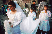07 DECEMBER 1991 - MEXICO CITY, DF, MEXICO: A wedding party leaves the cathedral in Mexico City, Dec. 7, 1991 after a wedding. .PHOTO BY JACK KURTZ
