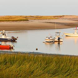Boats in Pamet Harbor in Truro, Massachusetts. Cape Cod.