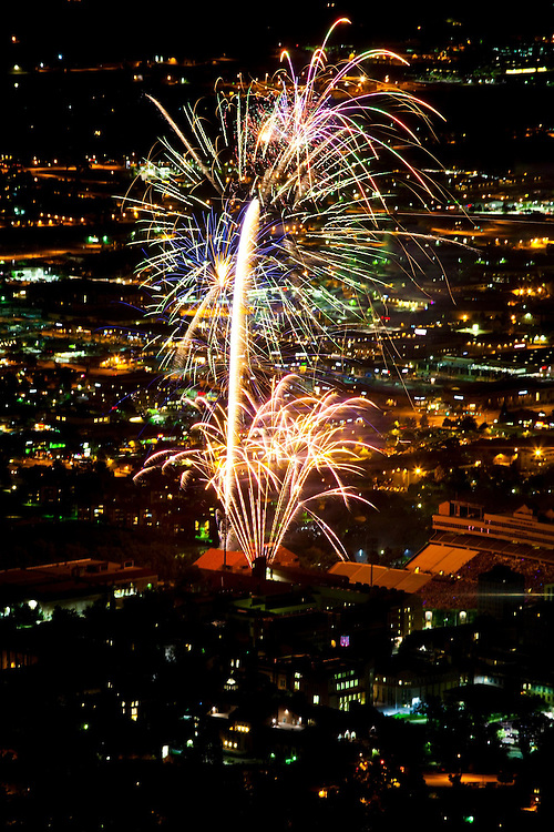 View of the Boulder, Colorado July 4th fireworks display from the top of the Flatirons.