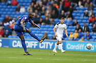 Sol Bamba of Cardiff city has a shot at goal from range. . EFL Skybet championship match, Cardiff city v Derby County at the Cardiff city stadium in Cardiff, South Wales on Saturday 30th September 2017.<br /> pic by Andrew Orchard, Andrew Orchard sports photography.