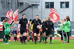 Official and players make their way on to the pitch at Stoke Gifford Stadium - Mandatory by-line: Paul Knight/JMP - 19/03/2017 - FOOTBALL - Stoke Gifford Stadium - Bristol, England - Bristol City Women v Millwall Lionesses - Women's FA Cup