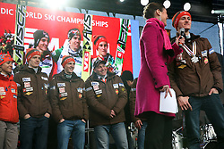 Peter Prevc and Nordic team of ski jumpers at reception of Slovenian athletes in winters sports after the end of season 2012/13, on March 19, 2013 in Congress Square, Ljubljana, Slovenia.  (Photo By Vid Ponikvar / Sportida.com)
