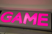 Sign for the gaming shop brand GAME in Birmingham, United Kingdom.