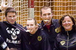 Uros Bregar, Amra Pandzic, Matej Cescutti, Head coach of Krim Marta Bon at last 10th Round handball match of Slovenian Women National Championships between RK Krim Mercator and RK Olimpija, on May 15, 2010, in Galjevica, Ljubljana, Slovenia. Olimpija defeated Krim 39-36, but Krim became Slovenian National Champion. (Photo by Vid Ponikvar / Sportida)