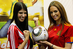 Miss Paraguay Tamara Sosa-Zapattini and Miss Spain Laura Garcia-Fernandez at Miss World contestants from the quarter finals FIFA World Cup 2010 at AIPS glamour event on June 30, 2010 at Nelson Mandela Square in Sandton Convention Centre in Johannesburg. (Photo by Vid Ponikvar / Sportida)
