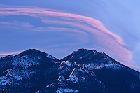 Sierra wave cloud formation at sunrise over Estes Cone, Rocky Mountain National Park, Colorado.