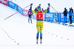 Hanna Oeberg (SWE) celebrating after the Mass Start Women 12,5 km at day 4 of IBU Biathlon World Cup 2019/20 Pokljuka, on January 23, 2020 in Rudno polje, Pokljuka, Pokljuka, Slovenia. Photo by Peter Podobnik / Sportida