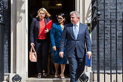London, July 18th 2017. In a clear demonstration of unity with a cabinet that has seemed to be split over Brexit and other issues,  Government ministers, L-R Secretary of State for Culture, Media and Sport Karen Bradley, International Development Secretary Priti Patel and Minister of State for Immigration Brandon Lewis leave the last cabinet meeting together before the Parliamentary summer recess at Downing Street in London.