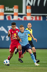 August 22, 2018 - Bronx, New York, United States - New York Red Bulls midfielder TYLER ADAMS (4) fights for the ball against New York City midfielder ALEXANDER RING (8) during a regular season match at Yankee Stadium in Bronx, NY.  New York City FC tie the New York Red Bulls 1 to 1 (Credit Image: © Mark Smith via ZUMA Wire)