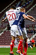 Dominic Solanke England U21s (Liverpool) & Ross McCrorie Scotland U21s (Rangers FC) challenge for the ball during the U21 UEFA EUROPEAN CHAMPIONSHIPS match Scotland vs England at Tynecastle Stadium, Edinburgh, Scotland, Tuesday 16 October 2018.
