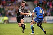 Mitchell Drummond of the BNZ Crusaders looks to dummy during the Canterbury Crusaders v the Western Force Super Rugby Match. Nib Stadium, Perth, Western Australia, 8th April 2016. Copyright Image: Daniel Carson / www.photosport.nz