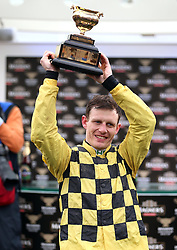Paul Townend celebrates victory at the Magners Cheltenham Gold Cup Chase during Gold Cup Day of the 2019 Cheltenham Festival at Cheltenham Racecourse.