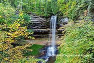64745-00302 Munising Falls in fall, Pictured Rocks National Lakeshore Alger Co. MI