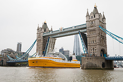 © Licensed to London News Pictures. 23/04/2019. London, UK.  The Kirkella arrives on the River Thames in London and passes under Tower Bridge ahead of her official naming ceremony in Greenwich tomorrow. The Kirkella is UK Fisheries new 81m fishing trawler, that will be based in Hull  and is a combined cod and haddock freezer trawler.  Photo credit: Vickie Flores/LNP