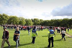 14 September 2017 -  UEFA Europa League (Group H) - Arsenal v FC Koln - A pair of Police officers watch the FC Koln fans as they cross Highbury Fields - Photo: Mark Leech/Offside