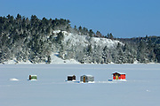 Ice fishing huts on Mary Lake <br />