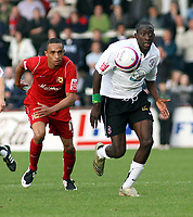 Photo: Mark Stephenson.<br /> Hereford United v Milton Keynes Dons. Coca Cola League 2. 20/10/2007.Hereford's Theo Robinson  with the ball