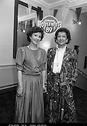 Calor Kosangas Housewife Of The Year. (S1)..1989..10.04.1989..04.10.1989..10th April 1989..Six housewives took part in the Calor/Kosangas Housewife of the Year final at the Olympia Theatre, Dublin tonight...Image shows two of the contestants who took part in the Calor/Kosangas Housewife of the Year competition,.Mrs Bernadette O'Connor,Mallow, Co Cork and Mrs Mary Dowling,Whitechurch, Co Cork at the press reception in the Olympia Theatre.