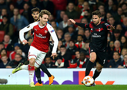 Nacho Monreal of Arsenal takes on Fabio Borini of AC Milan - Mandatory by-line: Robbie Stephenson/JMP - 15/03/2018 - FOOTBALL - Emirates Stadium - London, England - Arsenal v AC Milan - UEFA Europa League Round of 16, Second leg