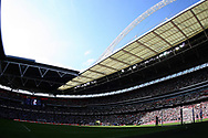 The players of Tottenham & Burnley walk out at Wembley Stadium for the start of the match.. Premier league match, Tottenham Hotspur v Burnley at Wembley Stadium in London on Sunday 27th August 2017.<br /> pic by Steffan Bowen, Andrew Orchard sports photography.