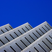 Architectural detail of a commercial high rise office building in downtown Miami, Florida.
