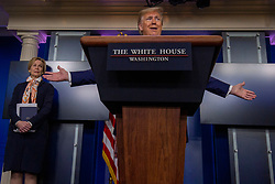 President Donald Trump takes questions during a briefing on the COVID-19 pandemic at the White House in Washington, D.C. on Saturday, April 18, 2020. Photo by Tasos Katopodis/Pool/ABACAPRESS.COM