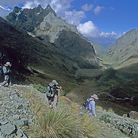 Members of a National Geographic archaeology expedition cross Choquetecarpo Pass (5100+ meters) in Peru's Cordillera Vilcabamba mountains, en route to Cerro Victoria at the end of the canyon (Quebrada Moyoc).