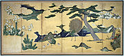 Six-leaved screen with displaying Peacock and Peahen with chicks: Pines, rocks, bushes and stylised clouds. Colour, ink and gold on paper.  Early 17th century, Edo Period, Japan