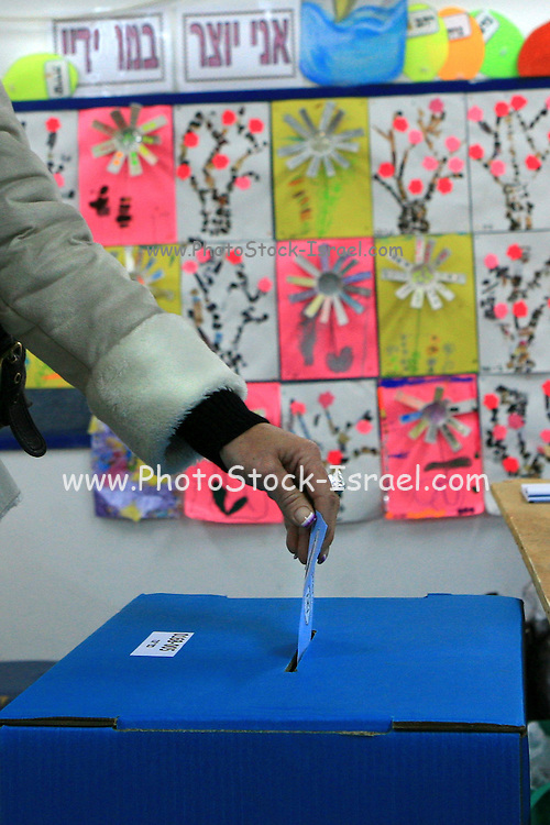 Israel, Kfar Yona, Casting a vote for one of the 33 parties wishing to be voted into the 18th Knesset February 10 2009