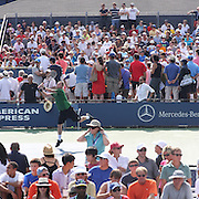Large crowds watch the action on the outside courts during the US Open Tennis Tournament, Flushing, New York. USA. 28th August 2012. Photo Tim Clayton