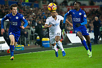 Football - 2016 / 2017 Premier League - Swansea City vs. Leicester City<br /> <br /> Benjamin Chilwell of Leicester City Wayne Routledge of Swansea & Demarai Gray  of Leicester City chase , at The Liberty Stadium.<br /> <br /> COLORSPORT/WINSTON BYNOTH