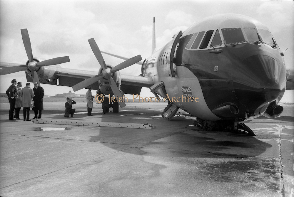 29/03/1963<br /> 03/29/1963<br /> 29 March 1963<br /> B.E.A. Aircrash at Dublin Airport. The crashed BEA Vanguard G-APEJ that carried 43 passengers and seven crew from London to Dublin. View of the crushed nose wheel. Photos, Photo, Snap, Streets, Street,