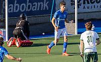 UTRECHT -  Bjorn Kellerman (Kampong) heeft gescoord (4-3)  tijdens de competitie hoofdklasse hockeywedstrijd mannen,  Kampong-Rotterdam (6-3) . keeper Derk Meijer (Rotterdam) heeft het nakijken.  COPYRIGHT  KOEN SUYK
