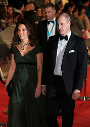 attend the EE British Academy Film Awards at the Royal Albert Hall in London, UK. 18 Feb 2018 Pictured: Catherine, Duchess of Cambridge and Prince William, Duke of Cambridge. Photo credit: Fred Duval /MEGA TheMegaAgency.com +1 888 505 6342