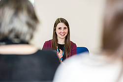 Pictured: Sarah Taylor, Research Nurse TEC project<br /> Today Mental Health Minister Maureen Watt vsiisted the Royal Hospital in Edinburgh to help aunch the online resource aimed at young people in this Eating Disorders Awareness Week, While thee she met two two Beat ambassadors, Constance Barter and Ballari Conner<br /> <br /> Ger Harley   EEm 28 Fbruary 2018