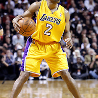 19 January 2012: Los Angeles Lakers point guard Derek Fisher (2) brings the ball up court during the Miami Heat 98-87 victory over the Los Angeles Lakers at the AmericanAirlines Arena, Miami, Florida, USA.