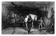 Coal Mining: Underground scene showing full baskets (corves) of coal being loaded on a tram wagon using a crane. Pit ponies used to haul coal  underground.  From W Fordyce 'A History of Coal, Coke, Coal Fields ...' London 1860. Engraving.